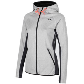 Zone3 Performance Culture Zipped Hoodie Women, marl grey/charcoal/electric coral